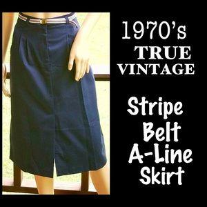 ▪️VTG▪️1970s Navy Blue Stripe Belt A-Line Skirt